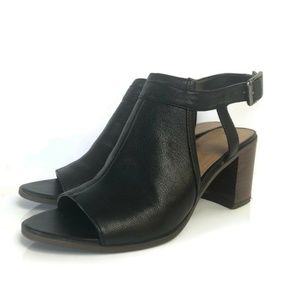 Franco Sarto Harlet Black Leather Stacked Open Toe
